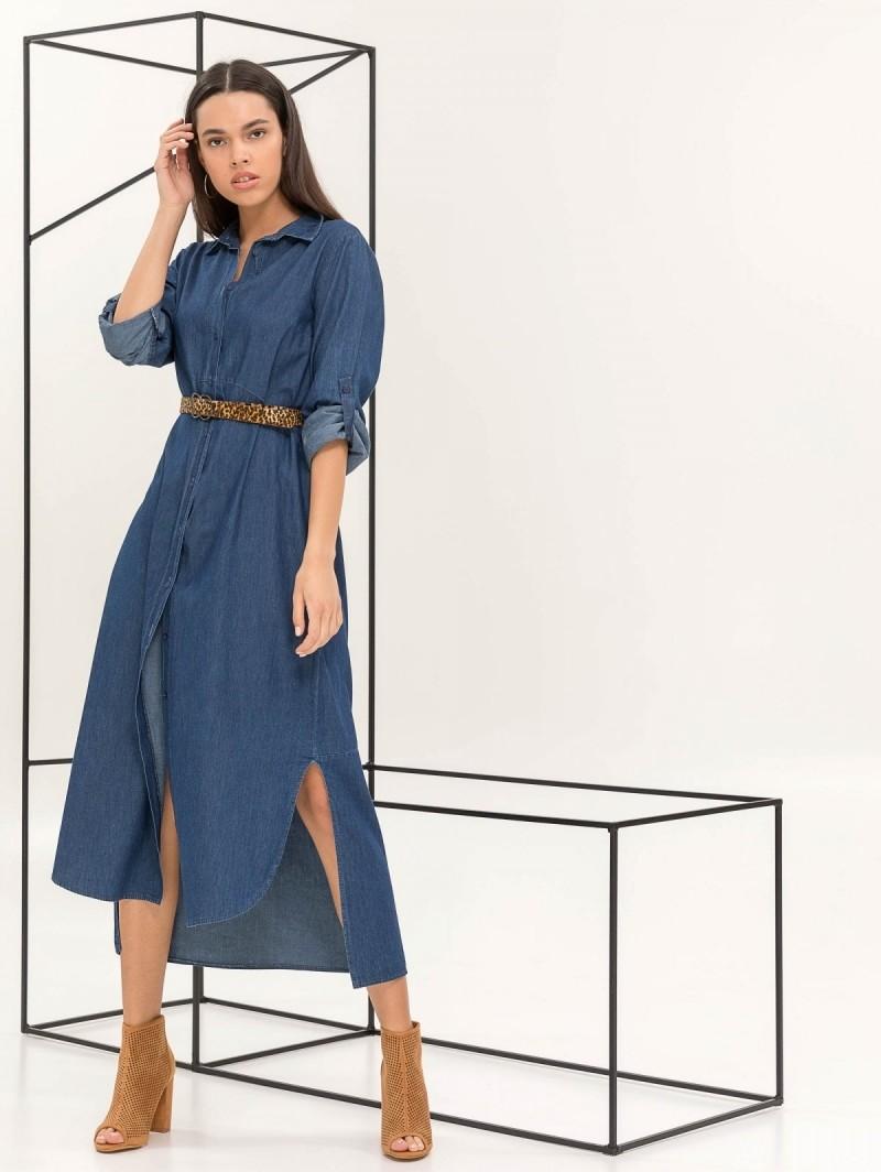 Maxi φόρεμα πουκάμισο με denim όψη - Μπλε σκούρο - TheFashionProject bef2f6bae0b
