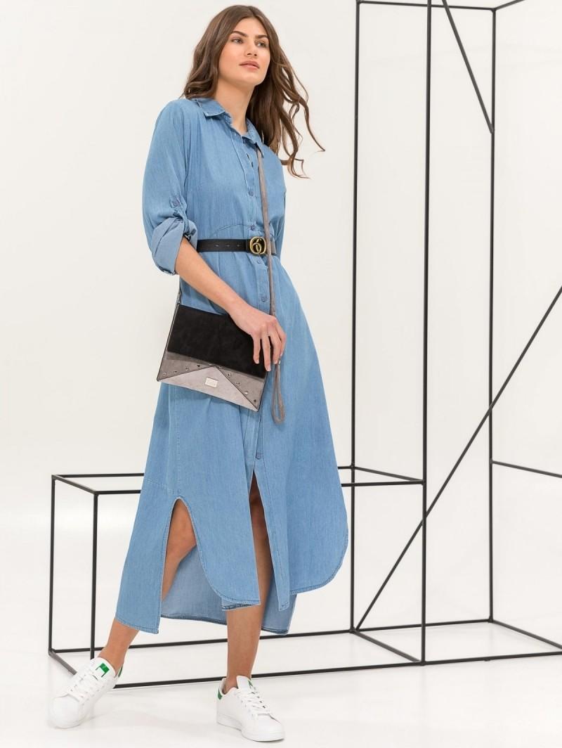 3a406de16bfc Maxi φόρεμα πουκάμισο με denim όψη - Μπλε jean - TheFashionProject