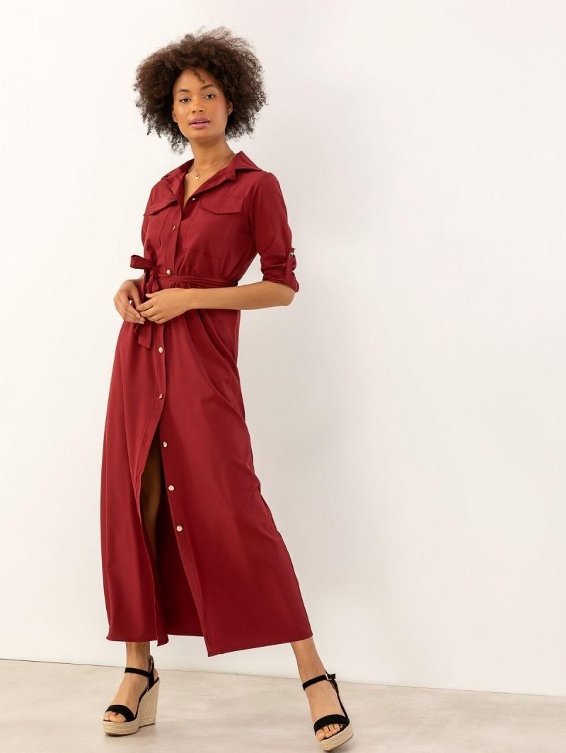 b0ecc3728e2d Maxi φόρεμα πουκάμισο με χρυσά κουμπιά - Μπορντό - TheFashionProject