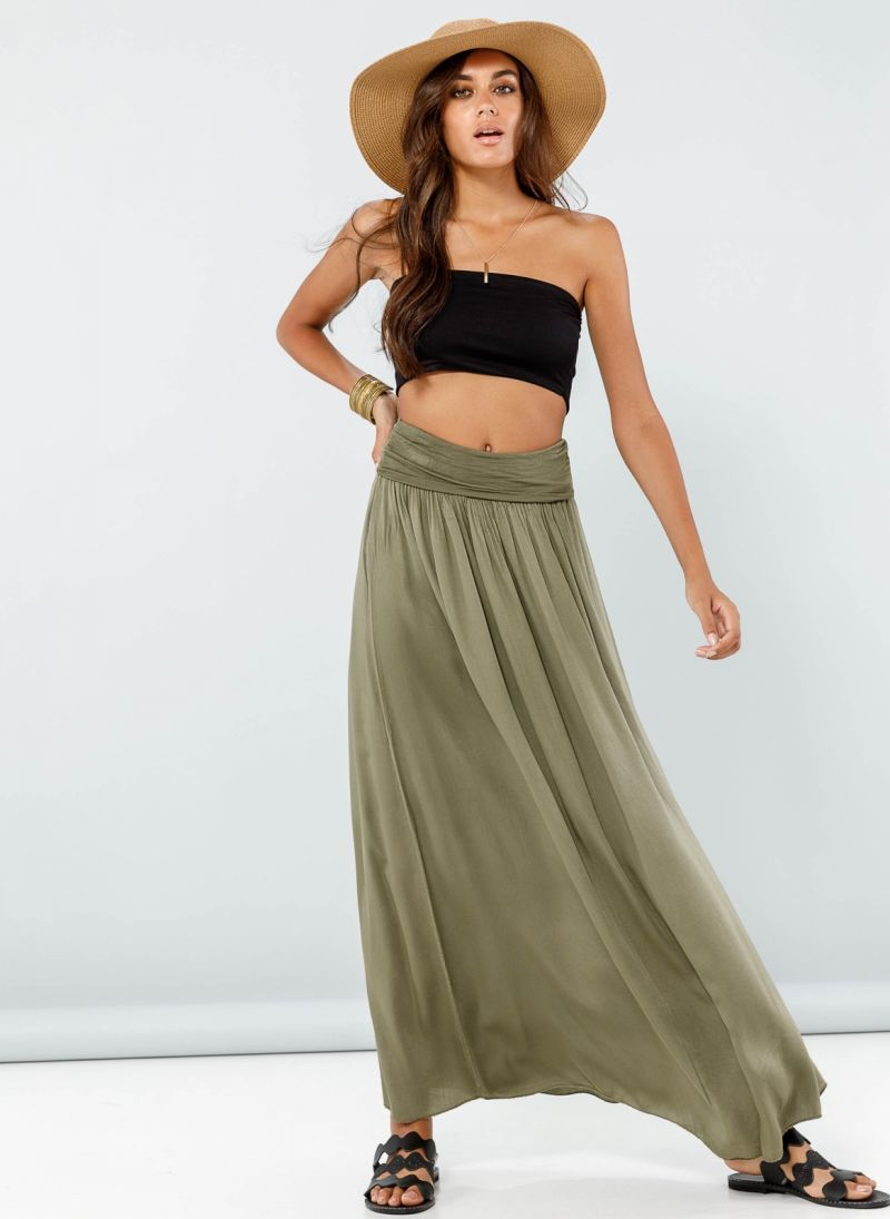 8bd18d1e694 Maxi φούστα με μπάσκα - Χακί - TheFashionProject