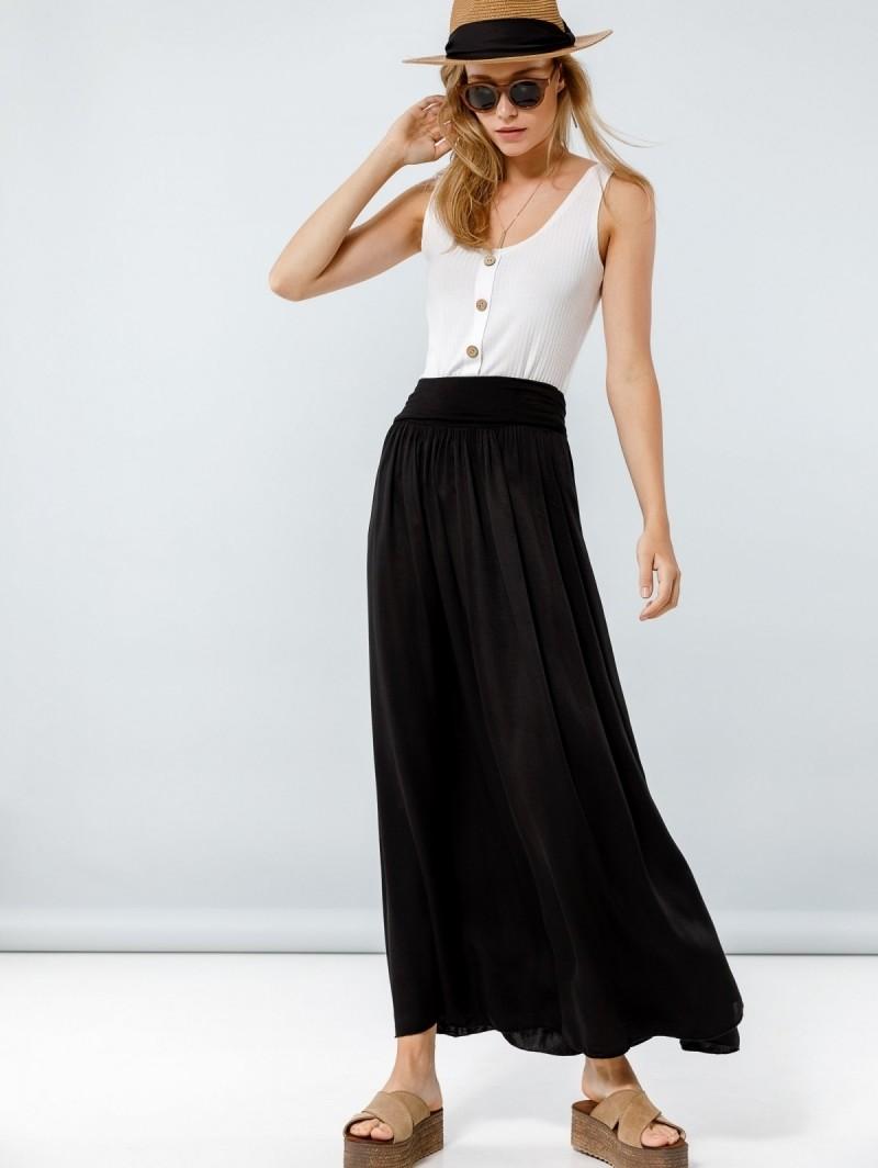 3c0b3d06f56 Maxi φούστα με μπάσκα - Μαύρο - TheFashionProject