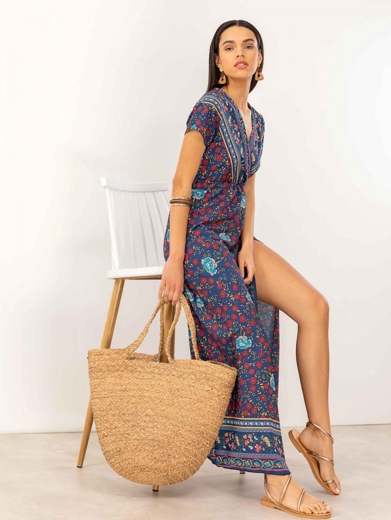 be7370053c8f Maxi κρουαζέ floral φόρεμα με άνοιγμα - Μπλε - TheFashionProject
