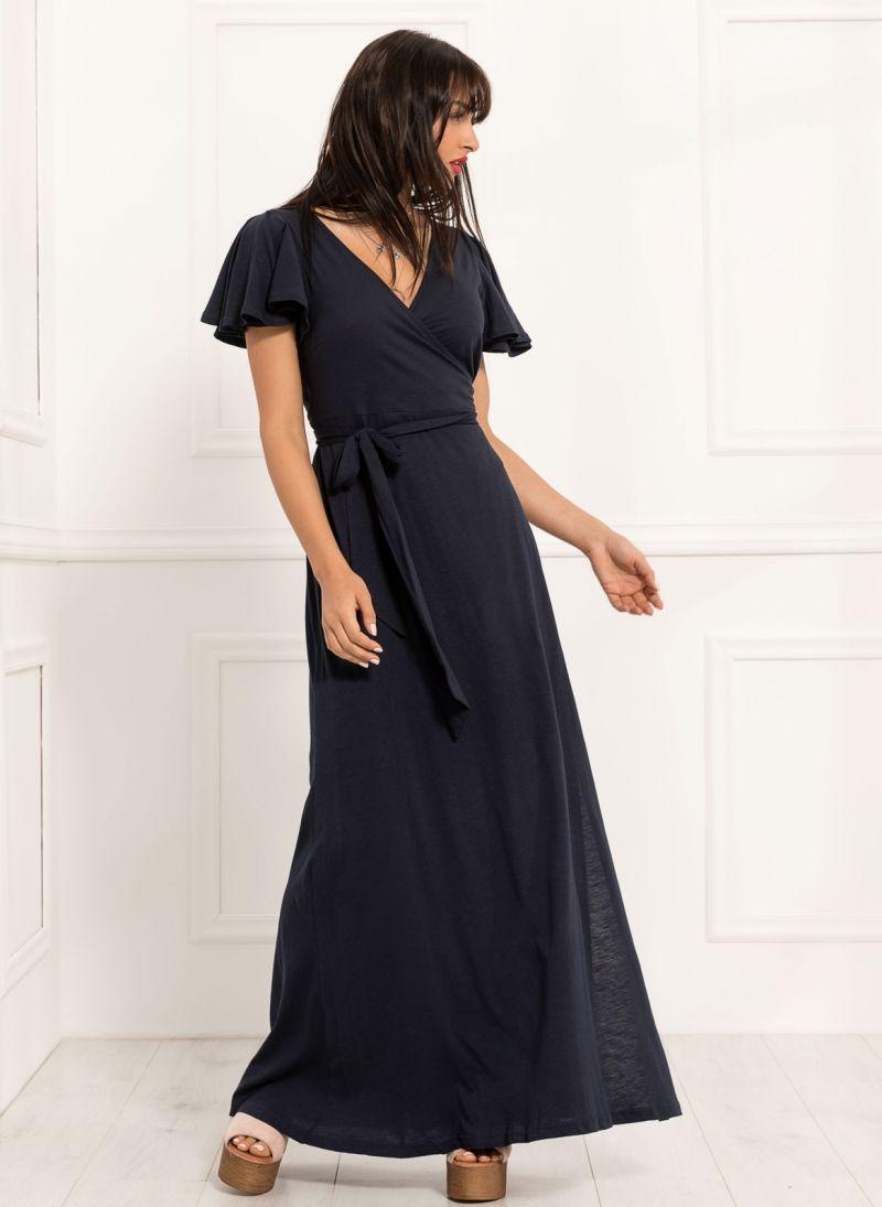 b366754c1e7 Maxi κρουαζέ φόρεμα - Μπλε σκούρο - TheFashionProject