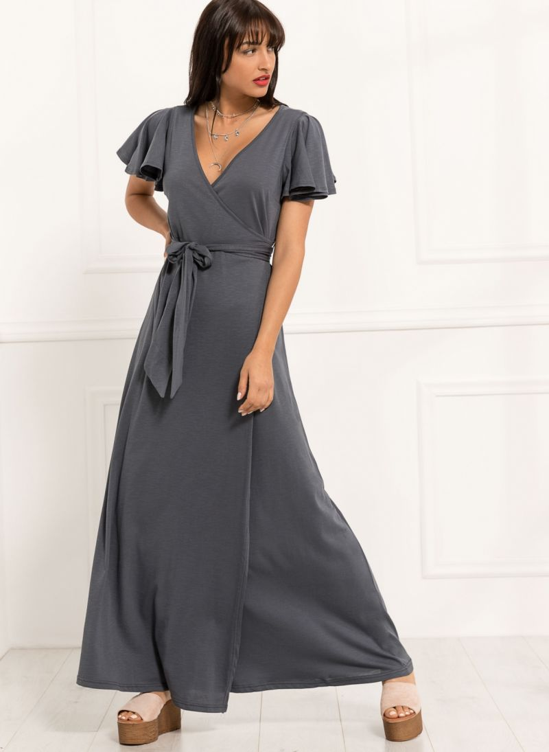14e307939b4d Maxi κρουαζέ φόρεμα - Ανθρακί - TheFashionProject