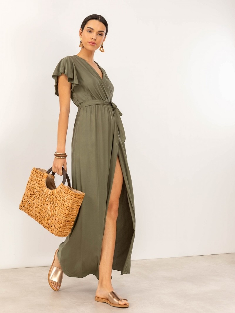 5716a81b6e58 Maxi κρουαζέ φόρεμα με άνοιγμα - Χακί - TheFashionProject