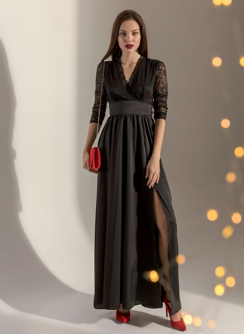 267ba7d90711 Maxi κρουαζέ φόρεμα σε συνδυασμό δαντέλας και σατέν - Μαύρο ...