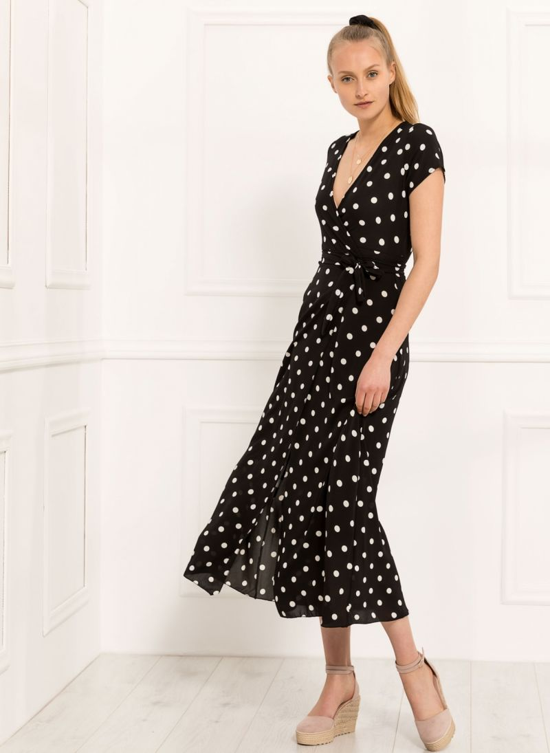 Maxi κρουαζέ πουά φόρεμα - Μαύρο - TheFashionProject d08eafa6961