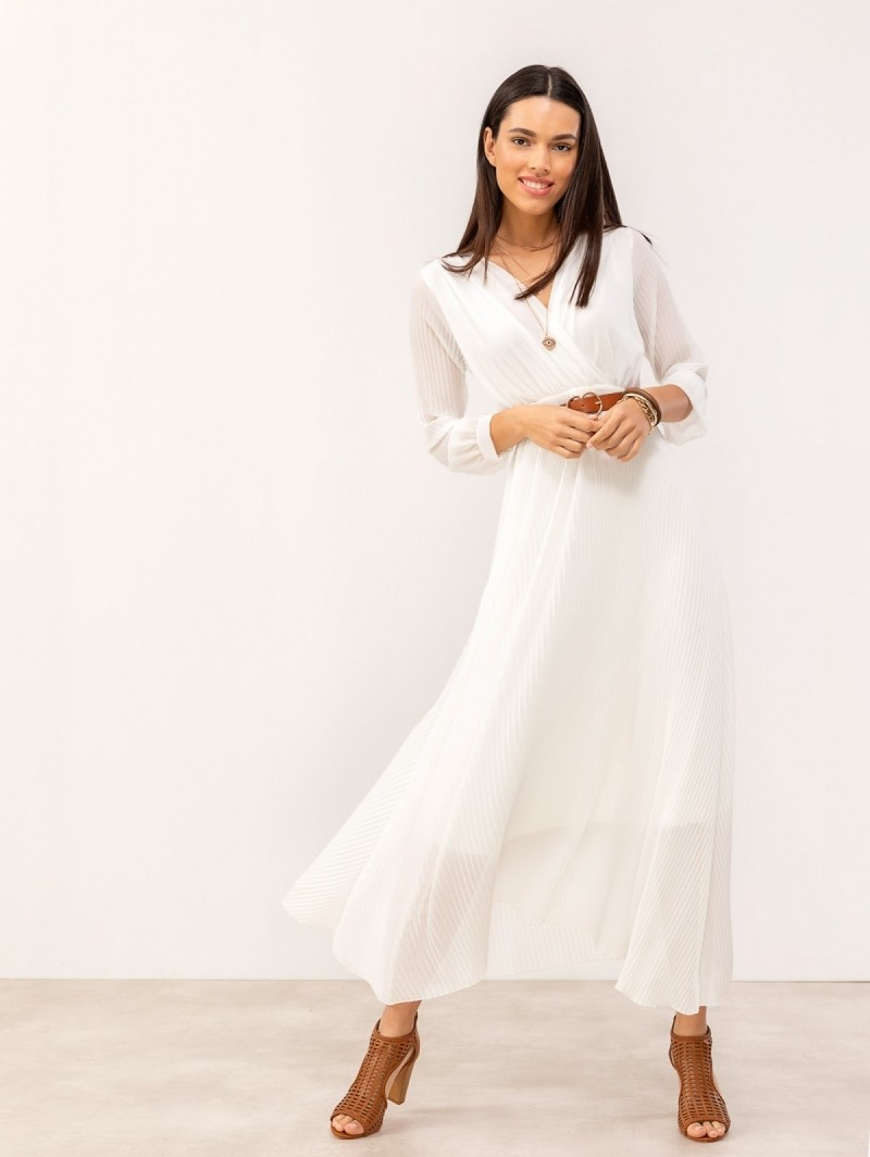 35f4b8647aca Maxi πλισέ κρουαζέ φόρεμα - Λευκό - TheFashionProject