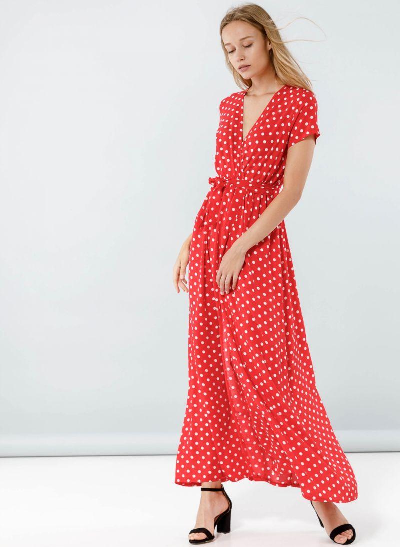 186e22200364 Maxi πουά κρουαζέ φόρεμα - Κόκκινο - TheFashionProject