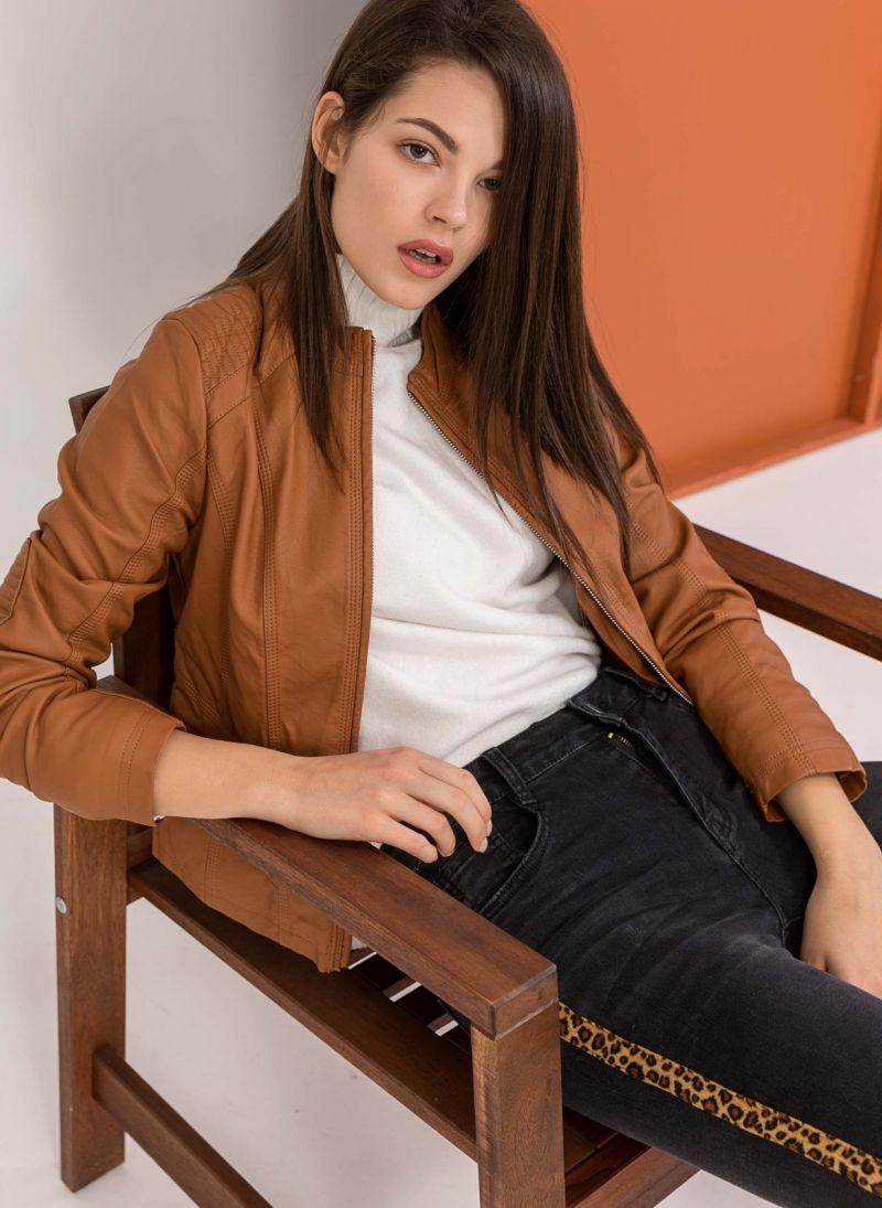 Μεσάτο biker jacket με γιακά μάο - Ταμπά - TheFashionProject 92202e6a678