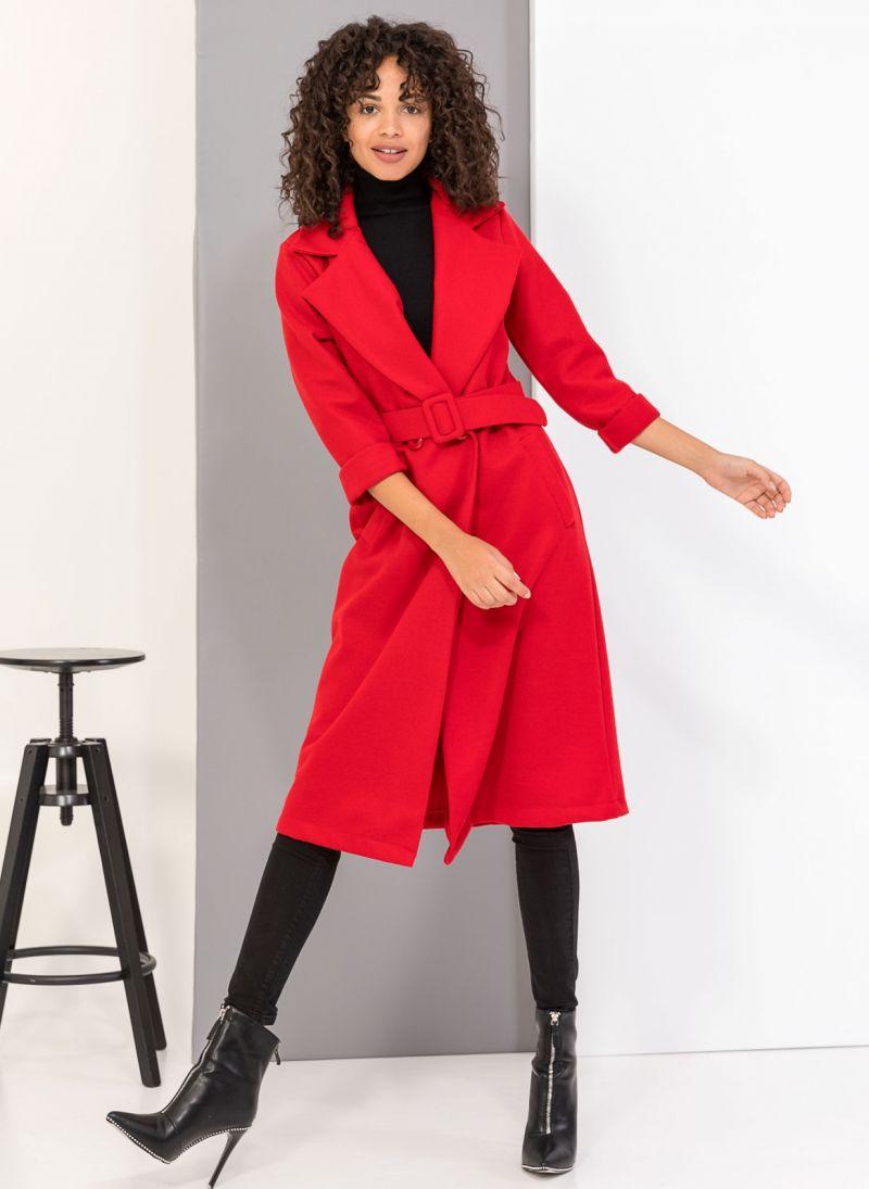 96bbd6ecf35 Μεσάτο παλτό με ζώνη - Κόκκινο - TheFashionProject