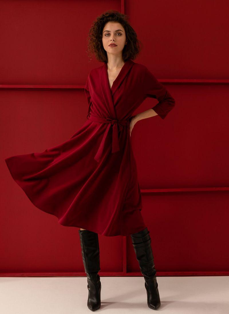 Midi φόρεμα κρουαζέ σε άλφα γραμμή - Μπορντό - TheFashionProject e6fabd7ccf2