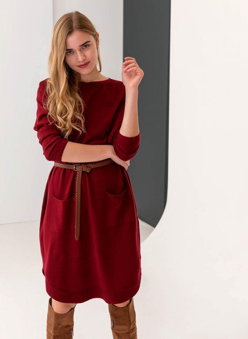 Midi φόρεμα με σχέδιο κουμπιά στην πλάτη - Μπορντό - TheFashionProject 581f8f3aaab