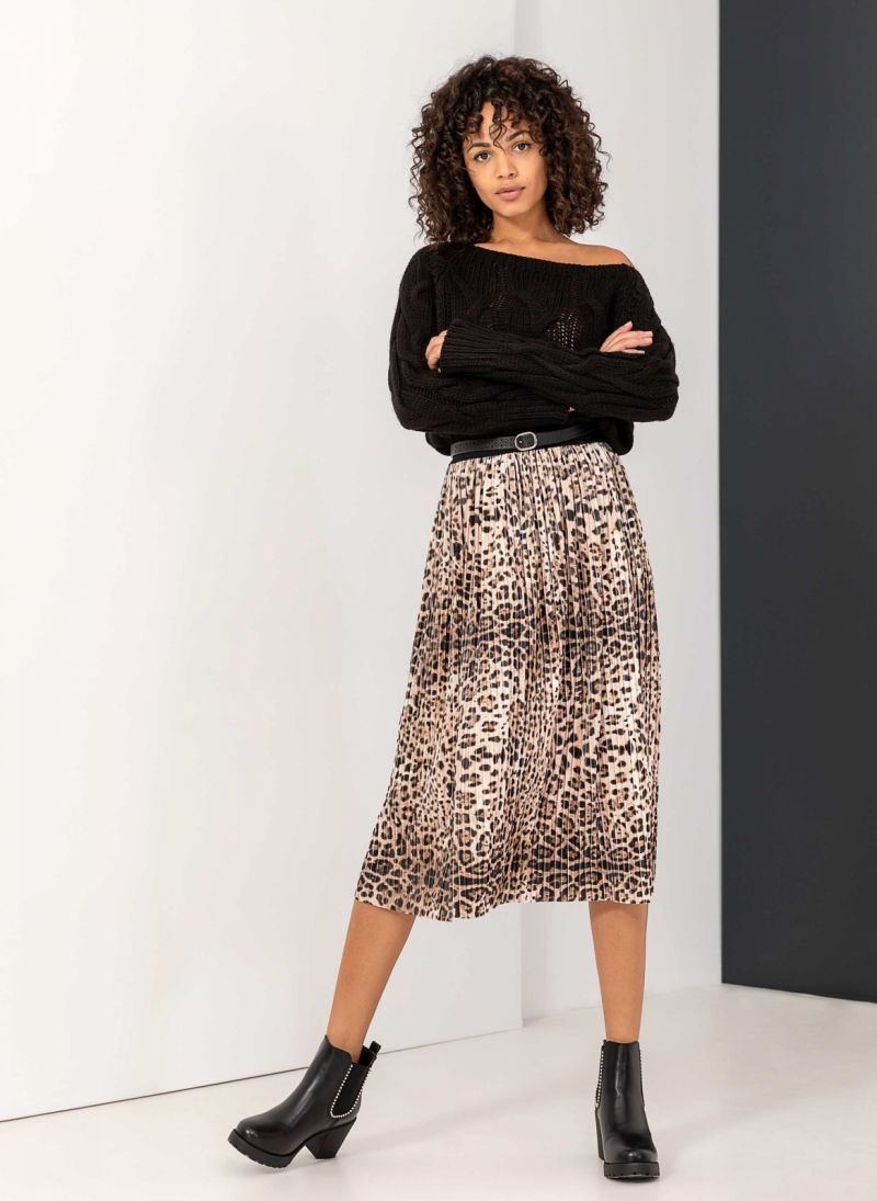 Midi βελουτέ πλισέ leopard φούστα - Leopard - TheFashionProject 3d391179c94