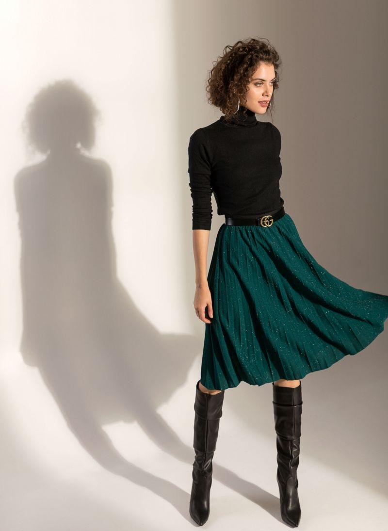 Midi πλισέ φούστα από glitter ύφασμα - Κυπαρισσί - TheFashionProject 0ecdb11670f