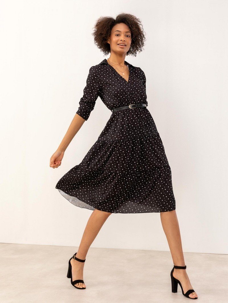 53acd94c2b8a Midi πουά φόρεμα με γιακά - Μαύρο - TheFashionProject