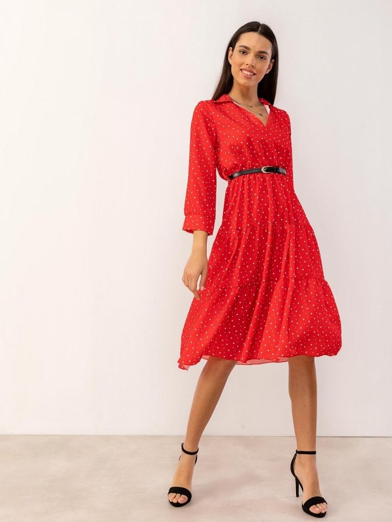 dfaf5de5e41 Midi πουά φόρεμα με γιακά - Κόκκινο - TheFashionProject