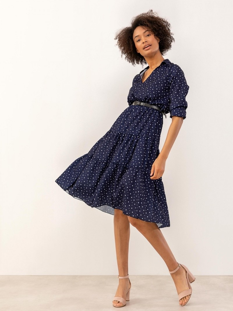 da7aa356e11c Midi πουά φόρεμα με γιακά - Μπλε - TheFashionProject