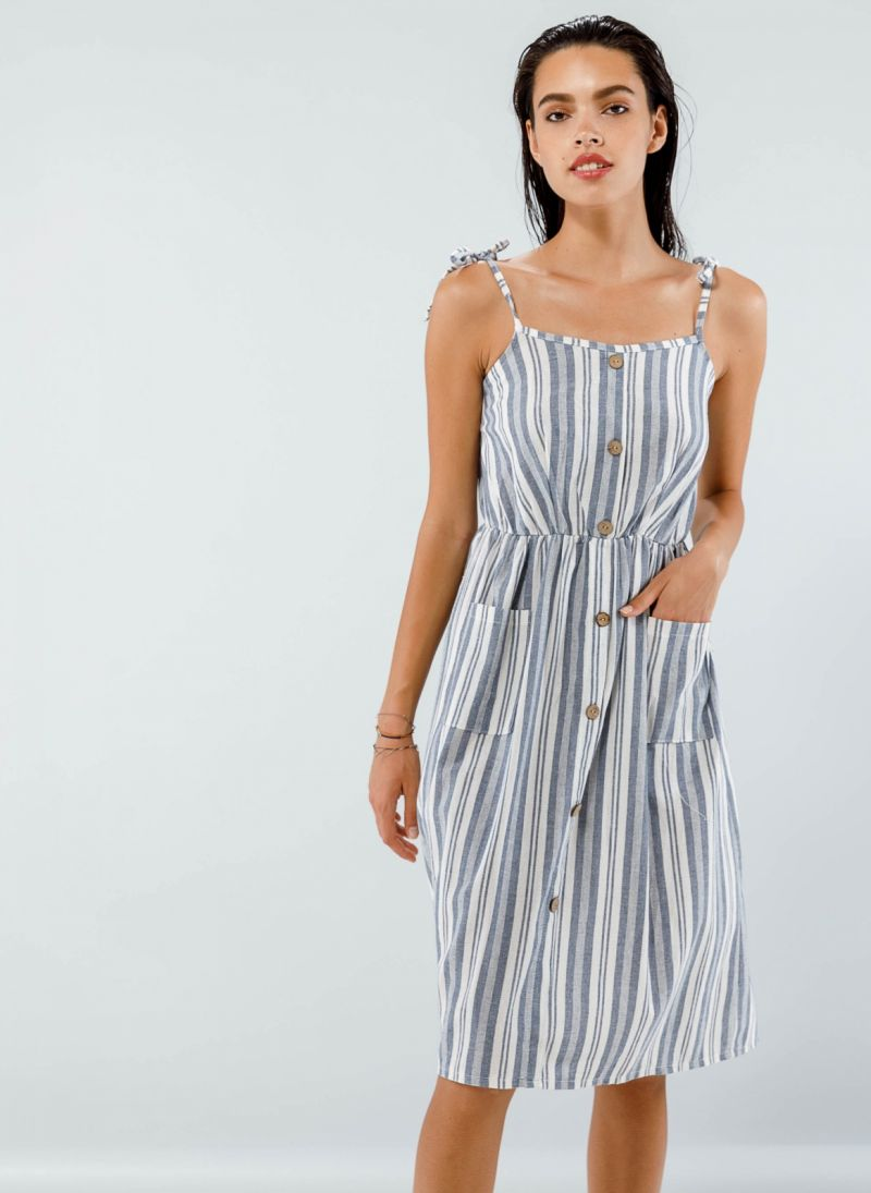 Midi ριγέ φόρεμα με κουμπιά - Μπλε jean - TheFashionProject 1eef6aa7d11