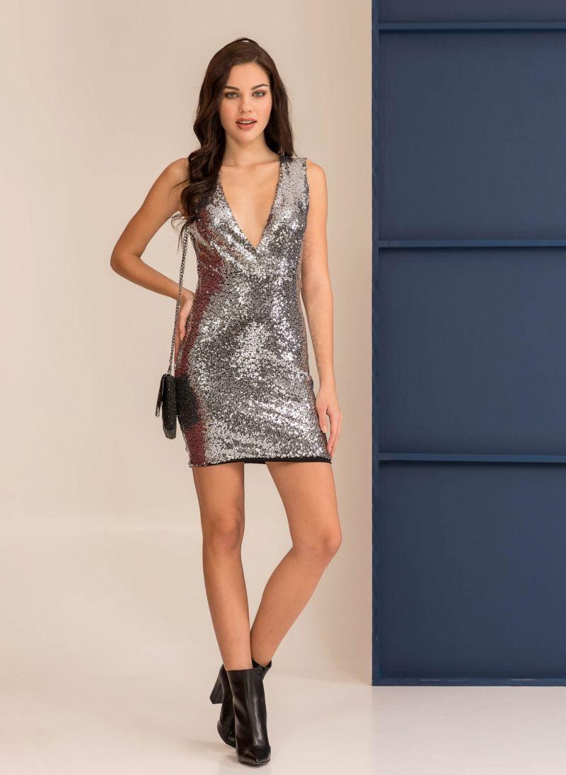 b43380374ed1 Mini αμάνικο φόρεμα με παγιέτες - Ασημί - TheFashionProject