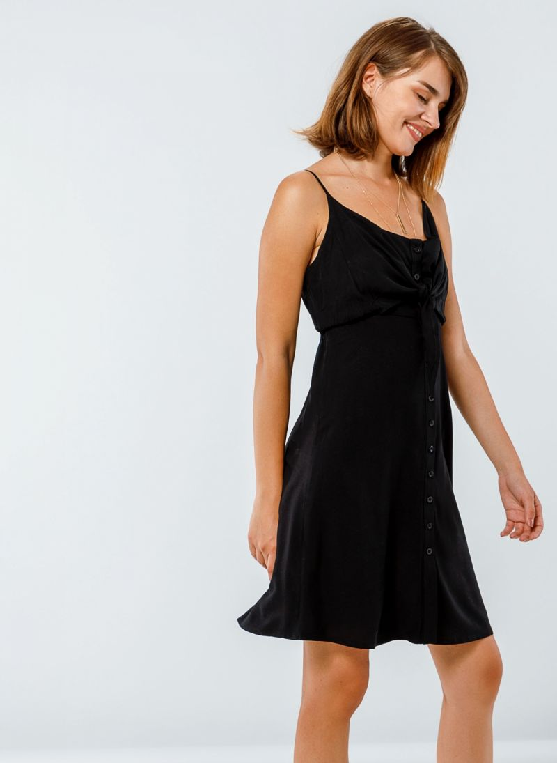 da7f380523ef MIni φόρεμα με δέσιμο στο στήθος - Μαύρο - TheFashionProject