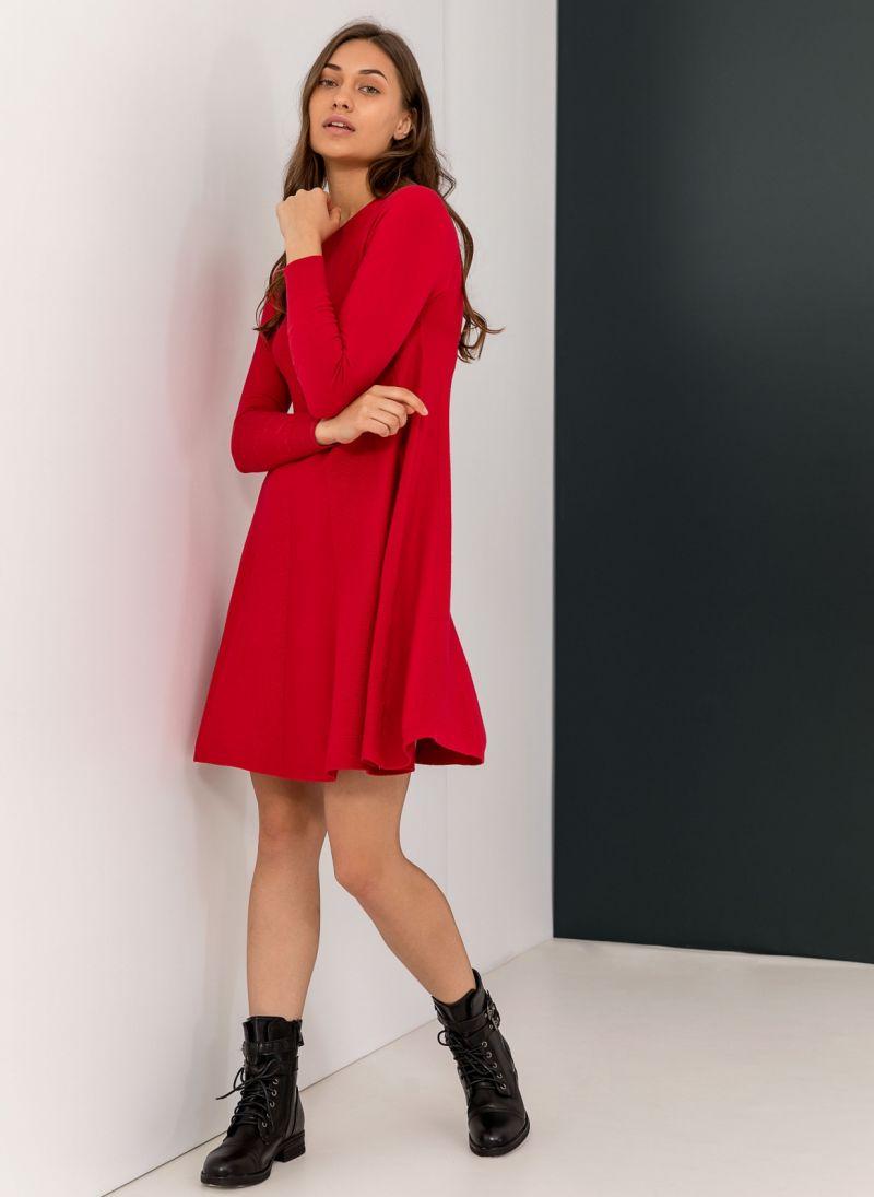 b76233febc1 Mini λεπτό πλεκτό φόρεμα σε άλφα γραμμή - Κόκκινο - TheFashionProject