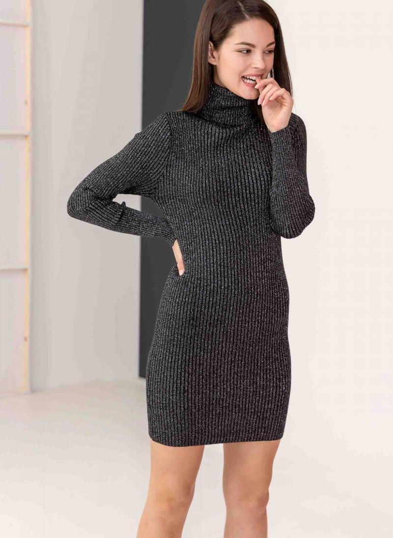9dffbc40134f Mini ριπ φόρεμα με γυαλιστερή κλωστή στην πλέξη - Μαύρο ...