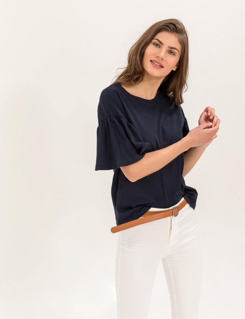 300412076036 Μπλούζα με φαρδιά μανίκια - Μπλε σκούρο - TheFashionProject