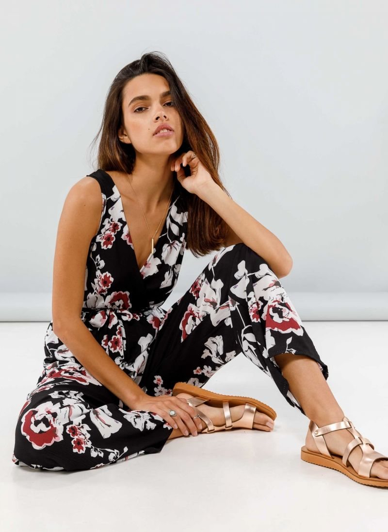 77a61e99cea7 Ολόσωμη floral κρουαζέ φόρμα - Μαύρο - TheFashionProject