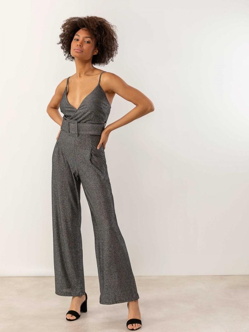 98b8fc26645 Ολόσωμη φόρμα από glitter ύφασμα - Μαύρο