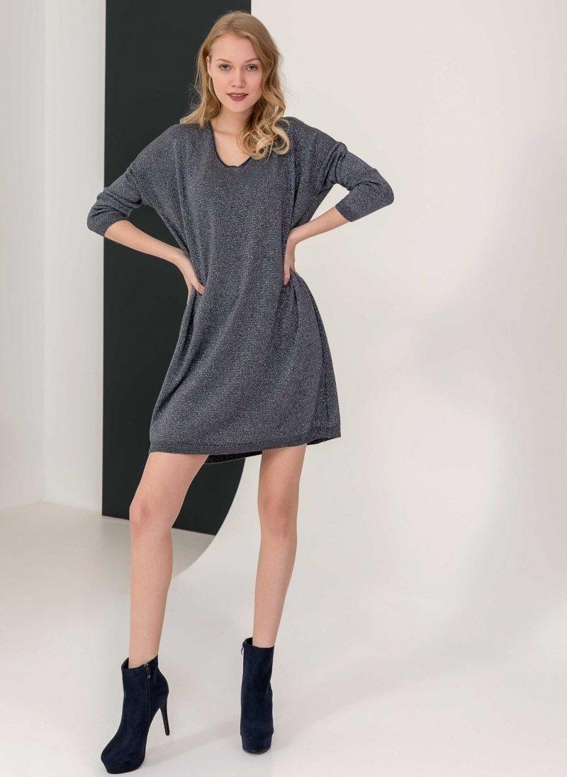 e78e1ab95948 Oversize φόρεμα από μεταλλόνημα - Ανθρακί - TheFashionProject