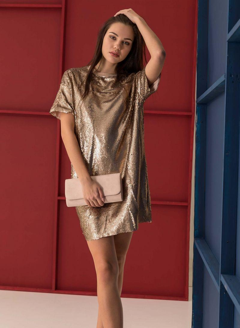 Oversize φόρεμα με παγιέτες - Χρυσό - TheFashionProject 49459261a6d