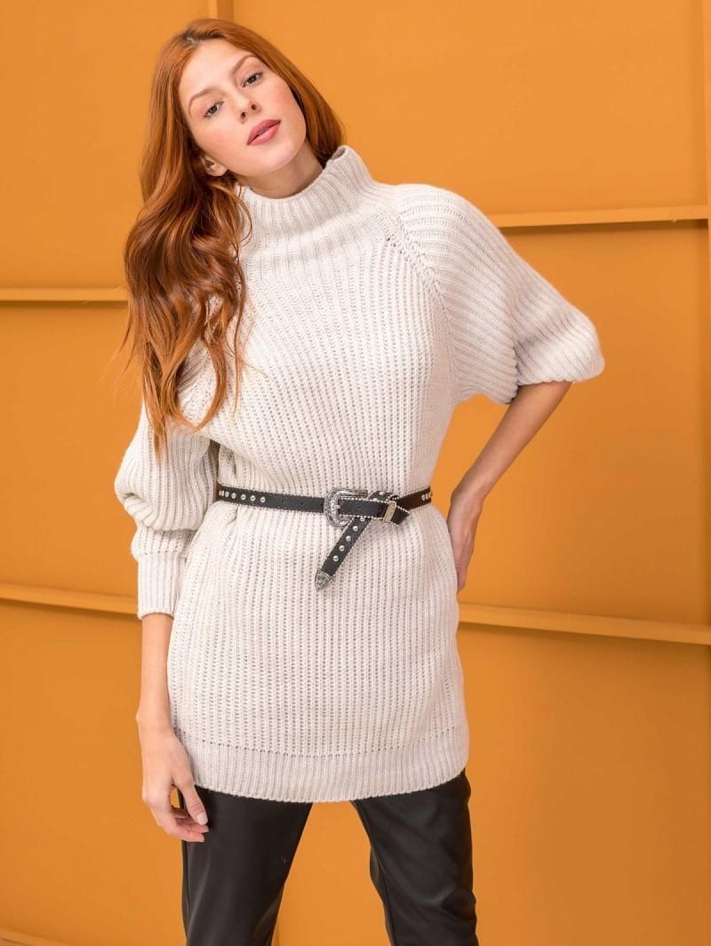 b2a46bc9781 Oversize πουλόβερ με ψηλό γιακά - Μπεζ