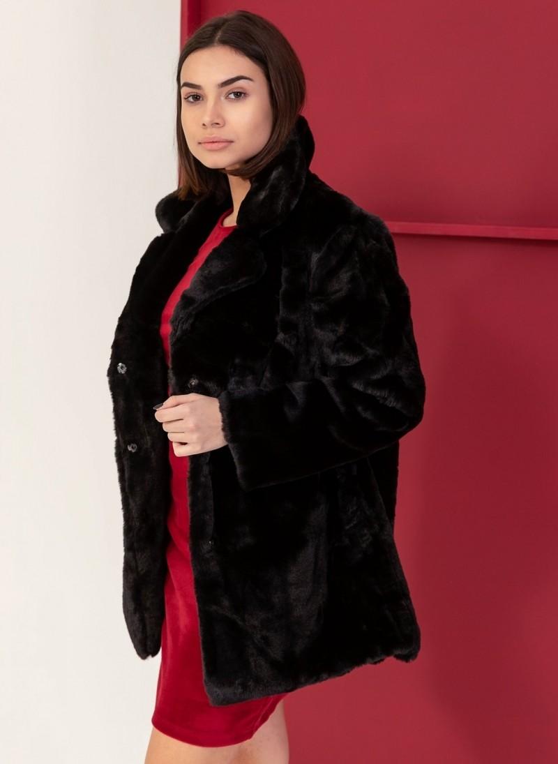 3d7f636d432 Παλτό από οικολογική γούνα - Μαύρο - TheFashionProject