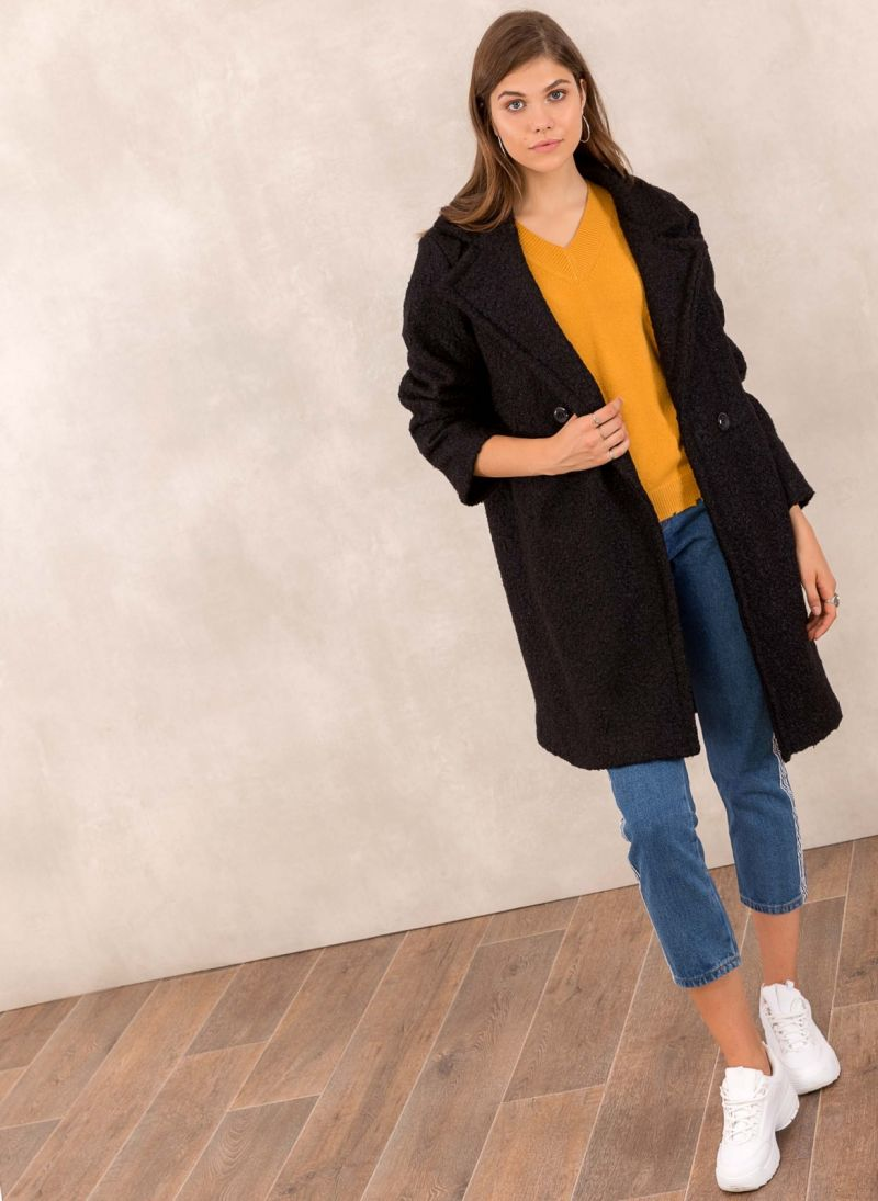 Παλτό από συνθετικό μαλλί προβάτου - Μαύρο - TheFashionProject dc0a7bce0b7