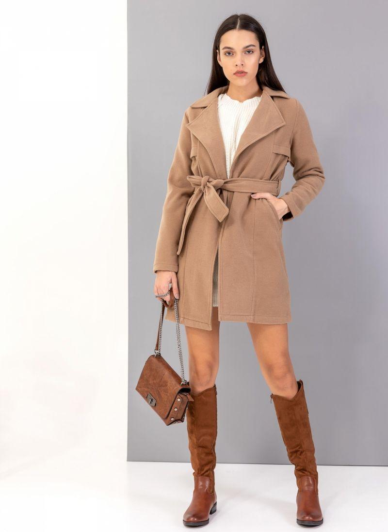 Παλτό με ζώνη - Κάμελ - TheFashionProject dcfc43dd55a