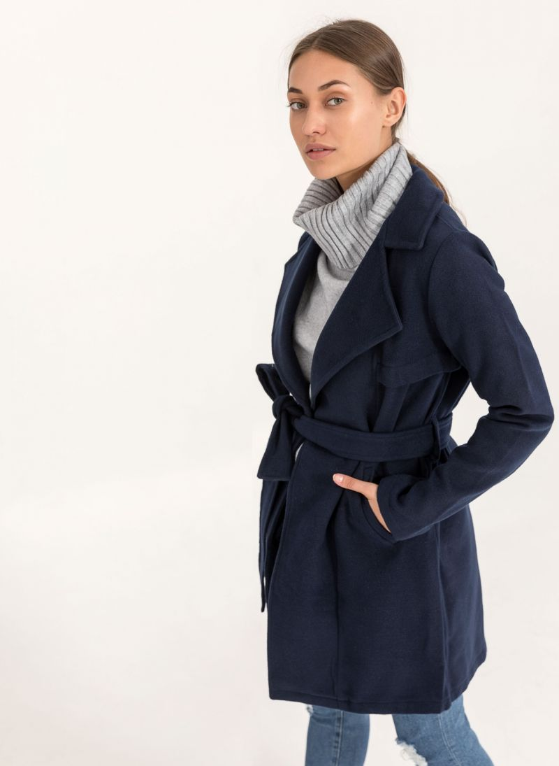 Παλτό με ζώνη - Μπλε σκούρο - TheFashionProject d240109b24e