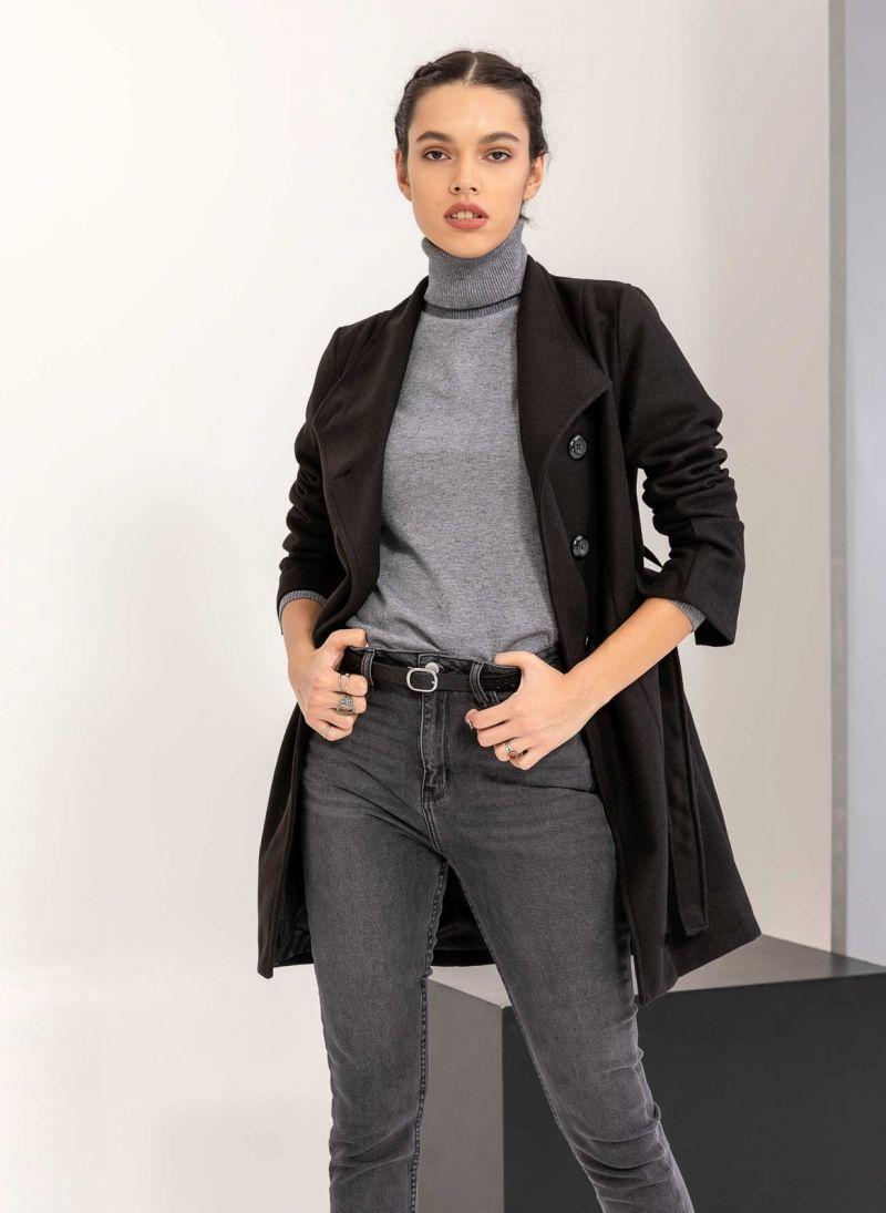 Παλτό μεσάτο με λοξό κούμπωμα - Μαύρο - TheFashionProject 99101af8eed