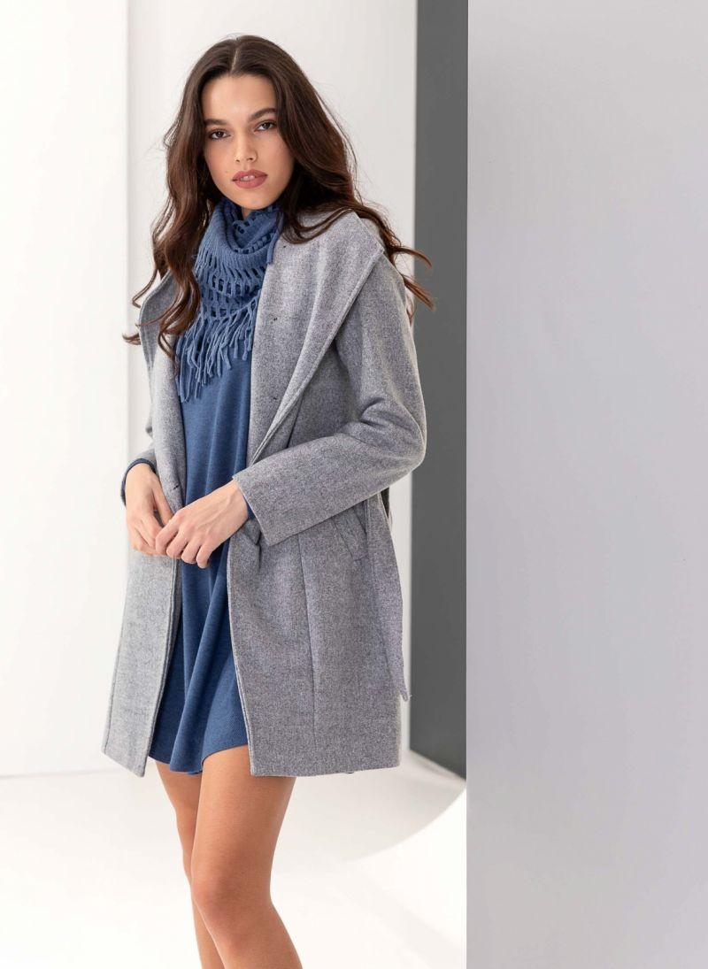 Παλτό μεσάτο με λοξό κούμπωμα - Γκρι - TheFashionProject f251ba46b79