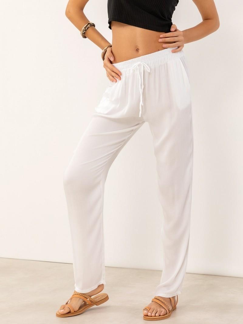 ce3ab165de6 Παντελόνι σαλβάρι με λάστιχο στη μέση - Λευκό