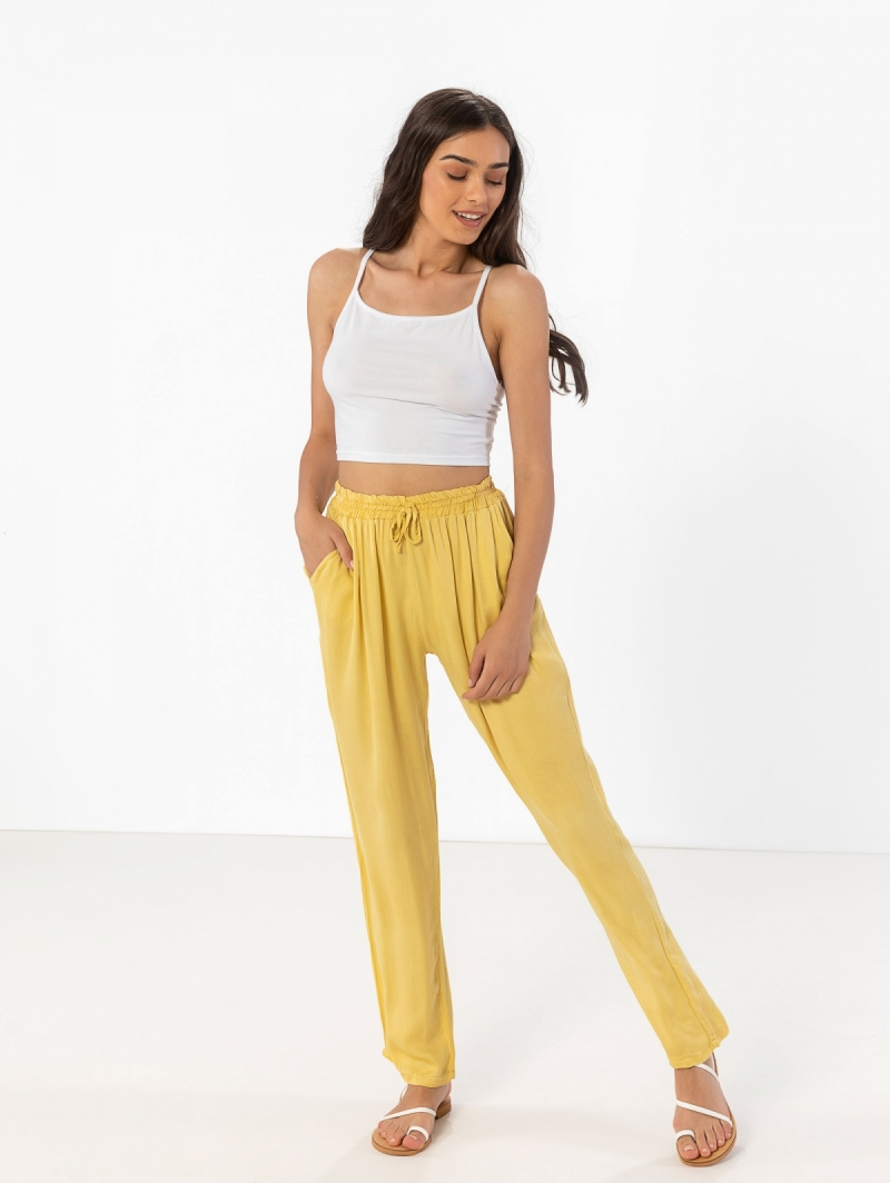 d2fd70e505e Παντελόνι σαλβάρι με λάστιχο στη μέση - Κίτρινο