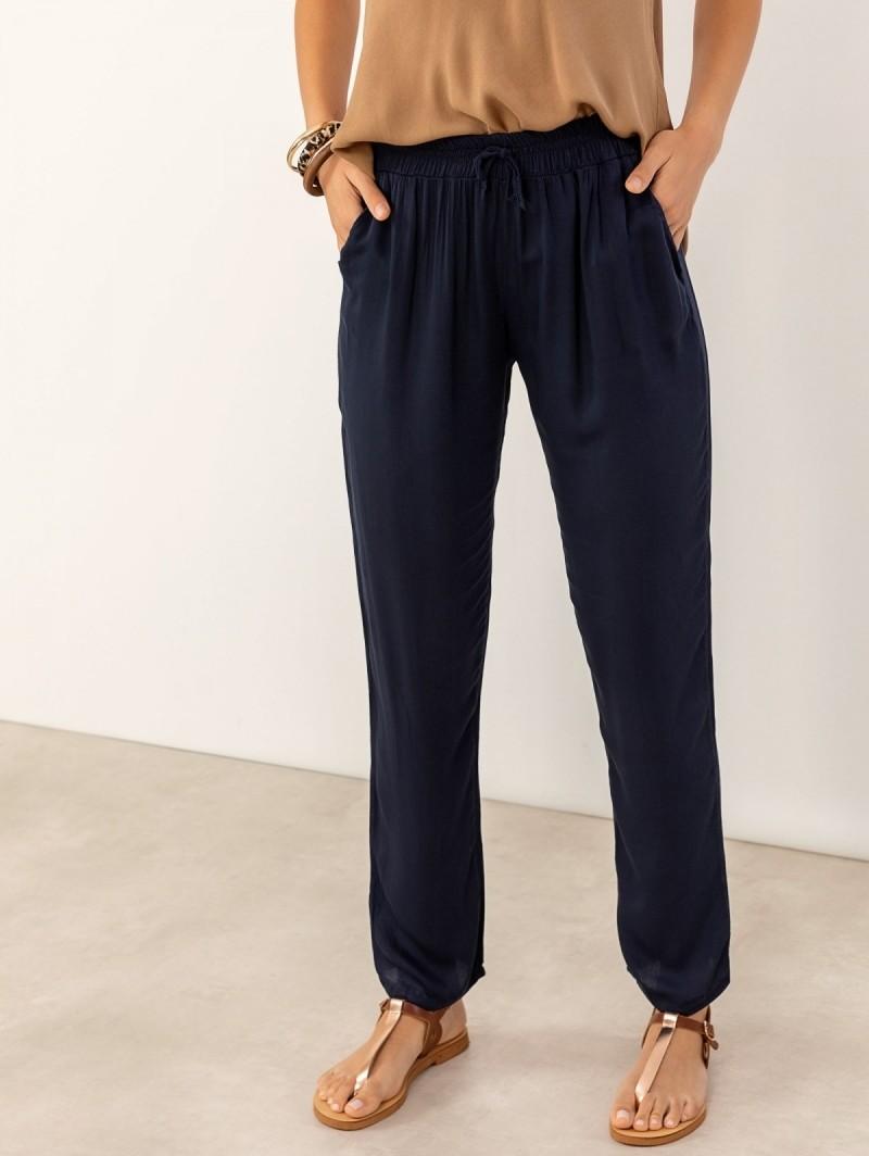 e309056b576 Παντελόνι σαλβάρι με λάστιχο στη μέση - Μπλε σκούρο