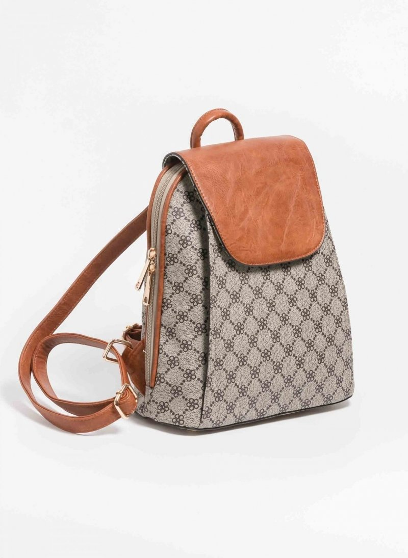 Patterned τσάντα πλάτης με καπάκι - Πούρο - TheFashionProject 8f32db80412