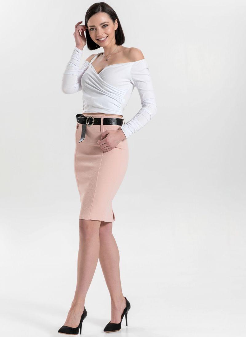 b6783c048c9 Pencil φούστα με ζώνη και ιδιαίτερη υφή - Ροζ - TheFashionProject