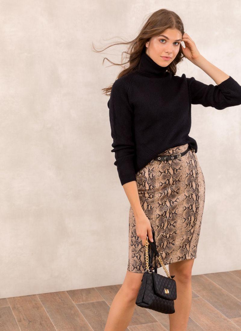 de9876c61a3 Pencil suede φούστα με snakeprint - Κάμελ - TheFashionProject