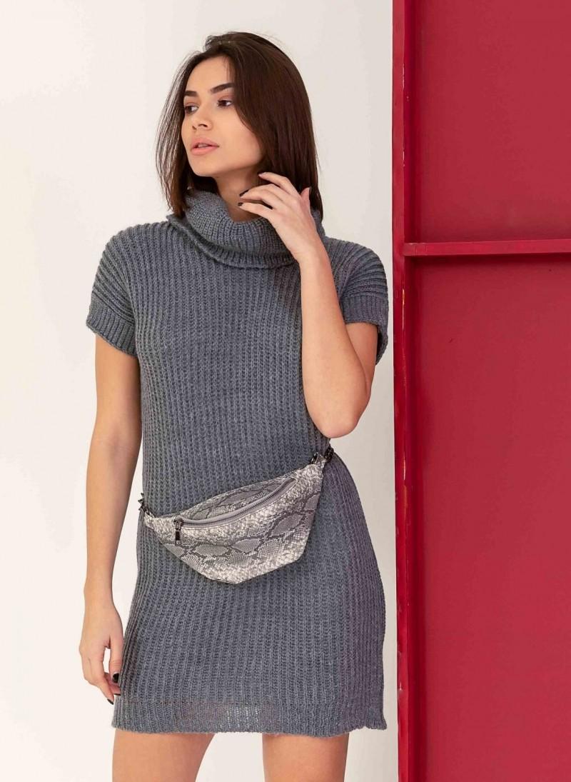 a21c7f6e5d7e Πλεκτό φόρεμα με κοντά μανίκια και ζιβάγκο - Ανθρακί - TheFashionProject