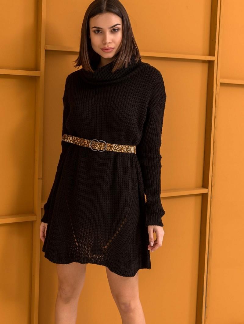 7de802e4cf54 Πλεκτό φόρεμα με μεγάλο ζιβάγκο - Μαύρο - TheFashionProject
