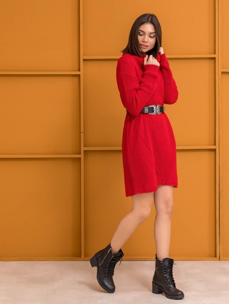 3f838b3475a2 Πλεκτό φόρεμα με μεγάλο ζιβάγκο - Κόκκινο - TheFashionProject