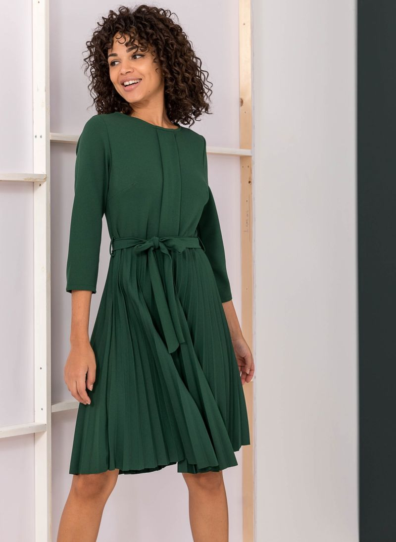 Πλισέ φόρεμα με πιέτα στο μπούστο - Κυπαρισσί - TheFashionProject 219541dfc85