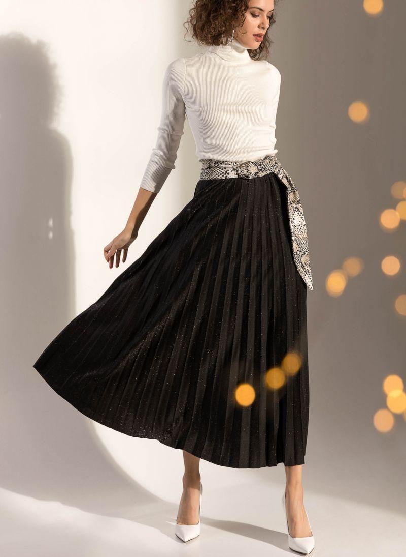 Πλισέ φούστα από glitter ύφασμα - Μαύρο - TheFashionProject 6dae23ef241